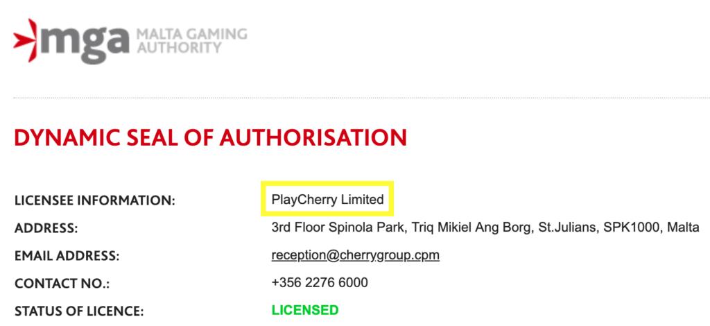 チェリーカジノのライセンス