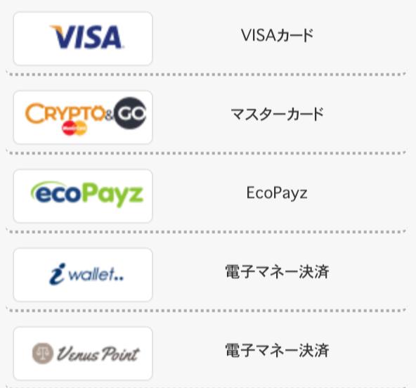インターカジノの入金・出金方法