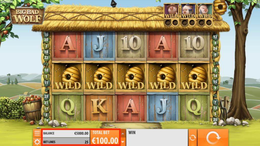 ビッグバッドウルフのラインベットと賭け金額