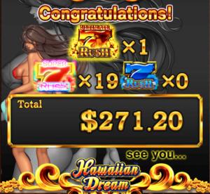 ベラジョンカジノのハワイアンドリームで3万円勝ち